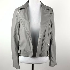 Olivaceous faux leather Moto jacket size S gray